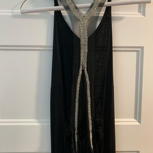 One of a kind long black maxi with beads